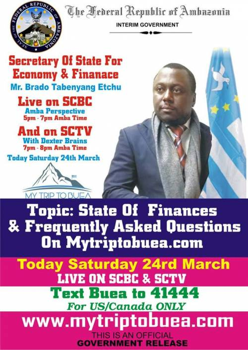 State of Finances and Frequently asked Questions on MyTripToBuea Presented by Secretary of State for Economic and Finance, Mr. Brado Tabenyang Etchu