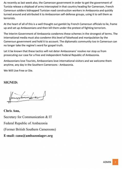 Lying to kill - the case of a crumbling Cameroun Regime. PAGE 2