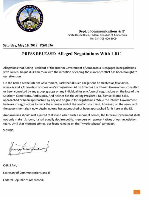 Press Release: Alleged Negotiation with LRC