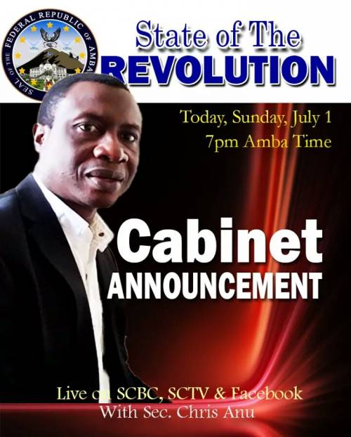 State of the Revolution with Sec. Chris Anu: Cabinet Announcement.