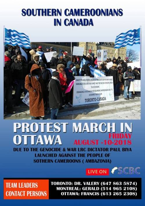 Ambazonians in Canada planned protest march in Ottawa